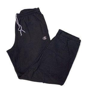 Champion Authentic Sweatpants Black Cotton Elastic Waist Drawstring Mens Size L